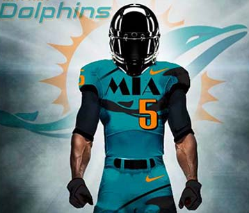 695f83a1e A site called thesportsdrop.com has redesigned every NFL team's uniform. Its  new Dolphins uni is pictured at right; click on image to see a larger  version.
