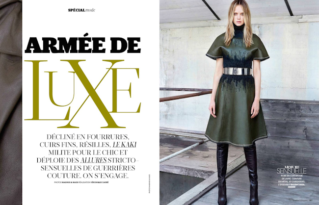 MADAME FIGARO FRANCE Rosie tupper in Armee De Luxe by Mads & Magnus. Veronique Carre, August 2014, www.imageamplified.com, Image Amplified