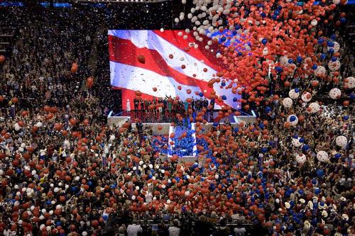 Political convention balloon drop