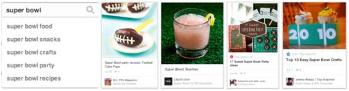 Pinterest pins for 'Super Bowl'