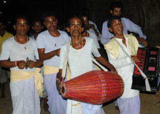Fig 2 Kirtan expert, Sri Jagaran Mahato and Kirtan team