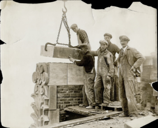 Construction workers. Date: 1928