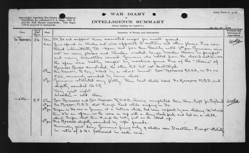 War Diary November 24 1915 of 3rd Battalion from Archives and Libraries Canada digitized copy.
