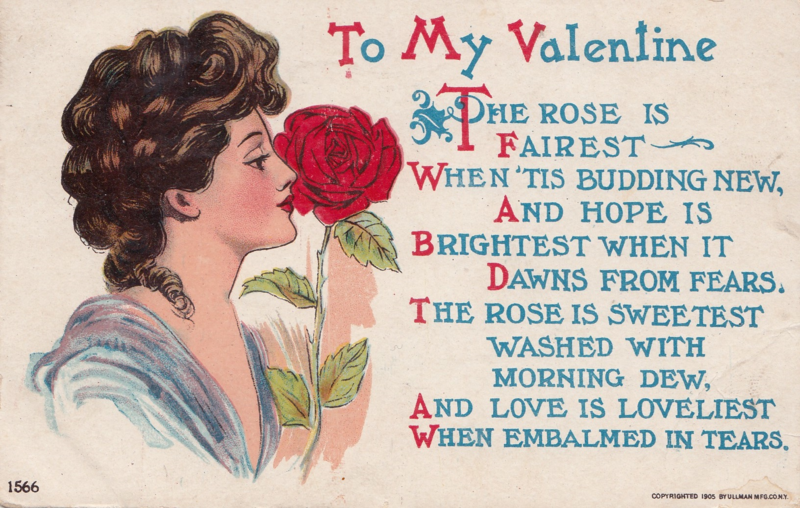 Vintage Valentine's Day postcard front To My Valentine woman smelling a rose