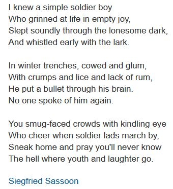 Siegfried Sassoon poem Suicide in the Trenches