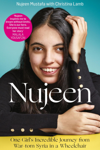 Book cover for Nujeen by Nujeen Mustafa shows a young woman looking at the viewer and smiling