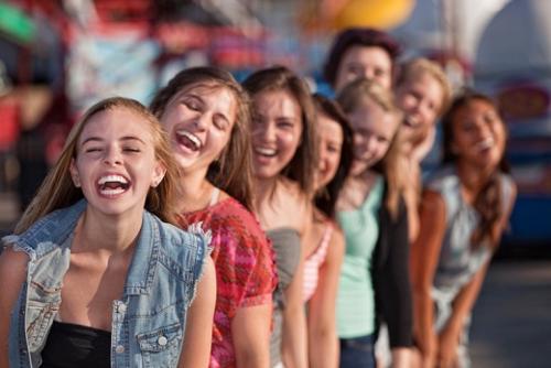 Friends at amusement park