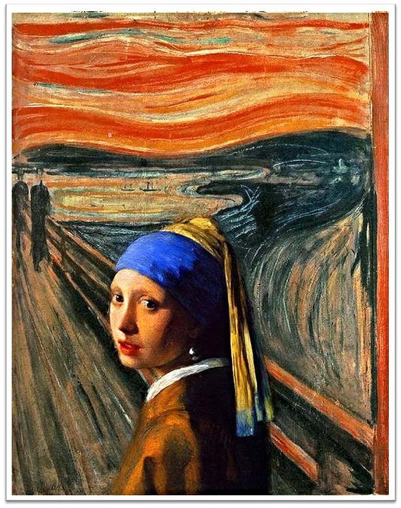 Munch según Vermeer | trabajo artístico de Tamara Lara, estudiante de la asignatura Dibujo Artístico  en el Instituto Público de Enseñanzas a Distancia de Andalucía (IEDA).