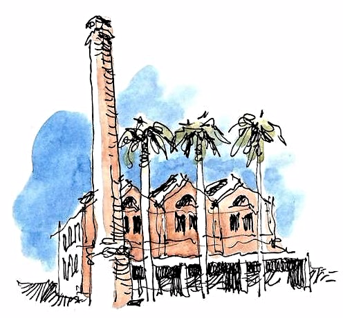 Dibujo: La vieja Azucarera de Torre del Mar, colección del grupo Urban Sketchers Málaga