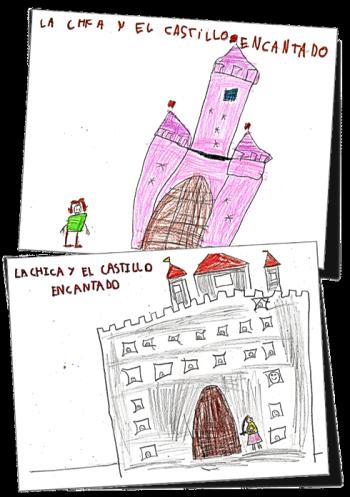 La chica y el castillo encantado, dibujos realizados por el grupo de 1º B del CEIP 'El Murtal' como motivo de la creación colectiva del cuento 'La Chica y el castillo encantado'.
