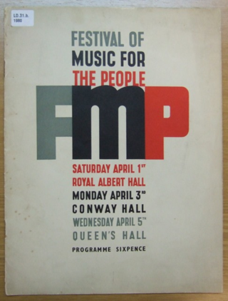 Programme for the Festival of Music for the People, 1939