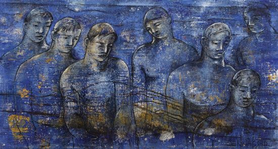 Buscando-un-ideal-azul-2002-2005 .Looking-for-the-blue-archetype-2002-2005.-Oil-on-canvas.-200-x-370-cm