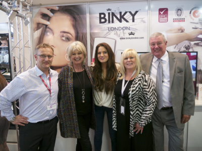 Binky with organisers of Cosmoprof Trade Fair at Binky London stand