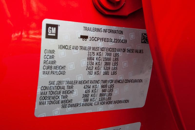 2020 Chevrolet Silverado 1500 Doorjamb Weight Capacity Sticker