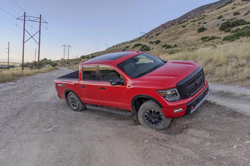 2020 Nissan Titan Pro-4X Crossing Ruts on Dirt Trail