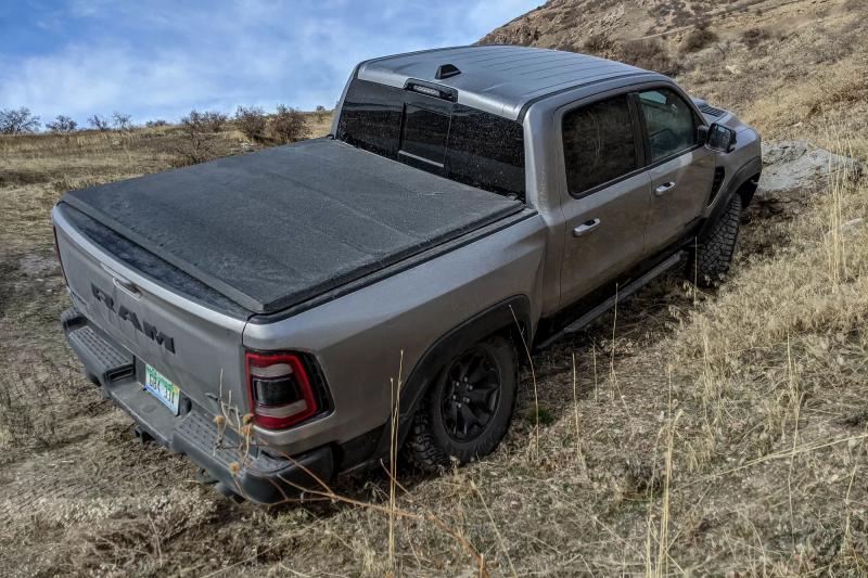 2021 Ram 1500 TRX Rear Angle On Dirt Hill