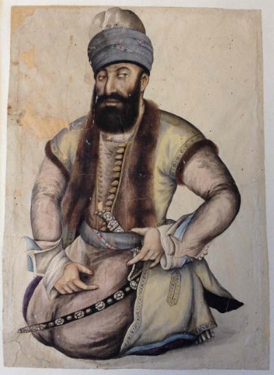 Contemporary portrait of Karīm Khān, founder of the Zand dynasty (Or.4938, f.1)