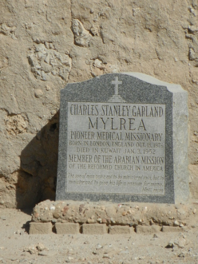 Dr. Mylrea's Gravestone at the Old Jewish & Christian Cemetery in Kuwait City. Courtesy of Julia & Keld