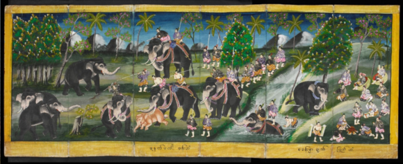 The opening of a 19th century Burmese manuscript illustrating a variety of royal entertainments (Or.16761, ff 1-3r)