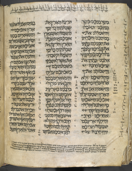 Page with masoretic notation containing Nissi ben Daniel's name. The London Codex BL MS Or. 4445, f. 113v