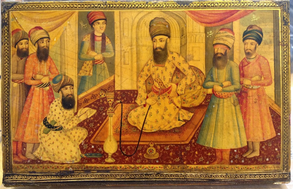 Karīm Khān surrounded by his family and courtiers. Early 19th century (Add.24904, outside front cover)