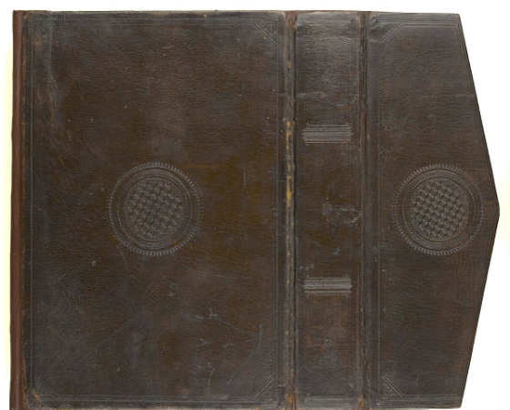 Brown goat-skin binding with envelope flap decorated with blind-tooled circular designs on both covers and flap; probably 8th/14th century with signs of later repair (Add. MS 18866, binding)