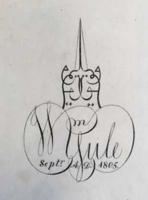 Seal of William Yule dated 1213 (1798/99), an example of musanná calligraphy in which the letters of his name are written on each side as mirror images. Yule subsequently developed this design to form a cat-shaped bookplate dated 1805 (BL Add.16802, f3r and flyleaf)
