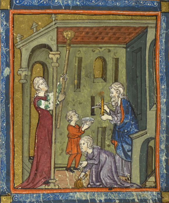 Golden Haggadah. Catalonia, Spain, 2nd quarter of the 14th century. Full manuscript can be viewed online here (British Library Add MS 27210 f.15r)