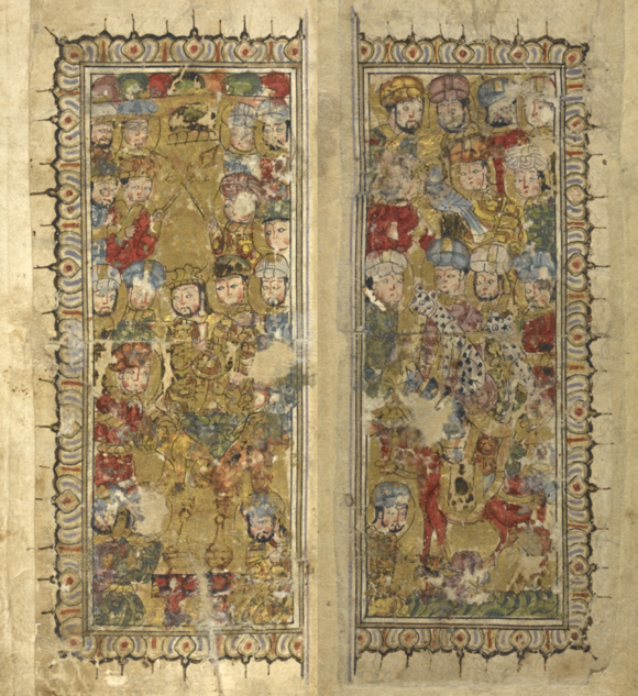Double-page opening to the tales of the two jackals Kalilah and Dimnah, by Naṣr Allāh ibn Muḥammad, dated AH 707/1307-8. Here the king is enthroned on the left, surrounded by courtiers with two lions beneath and, on the right, hunting cheetahs, a horse and a hawk (Or.13506, ff 2v-3r)