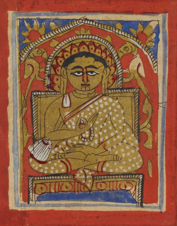 Miniature of Gautamasvāmin seated, in the typical Śvetāmbara monastic dress and holding a rosary, 15th century (British Library Or 2126A)