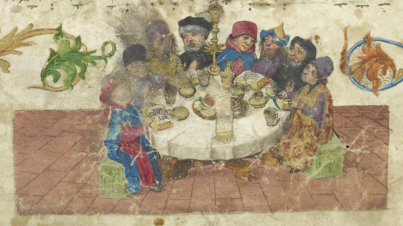 Ashkenazi Haggadah, Germany, c.1430-1470. Full manuscript can be viewed online here (British Library Add MS 14762 f.6r) table
