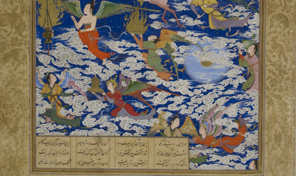 """Detail of """"the Prophet's ascent"""" attributable to Sultan Muhammad, part of Shah Tahmasp's Khamsa of Nizami (Or.2265, f. 195r)"""