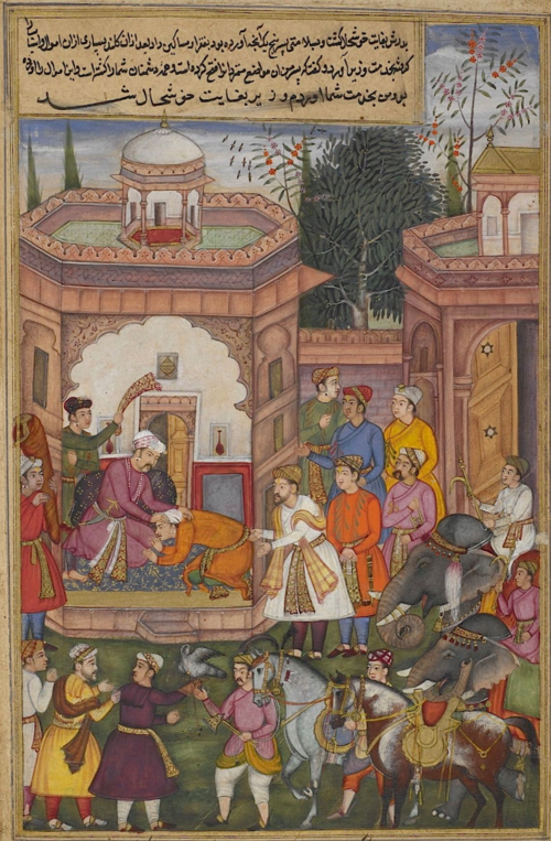 Candrahāsa kneeling before the Raja of Kuntala on being presented to him by the minister Dhṛṣṭabuddhi after Candrahāsa's victory over the king's enemies. The elephants, horses and hawk are booty from the enemy. Episode from the 14th book, the Aśvamedhikaparva (ʻhorse sacrifice'). Painting attributed to Kanhar (Or.12076, f.83v)