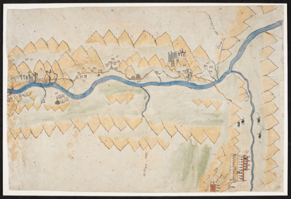 Map showing a part of the Indus Valley in Ladakh (BL Add.Or.3014, f. 4)