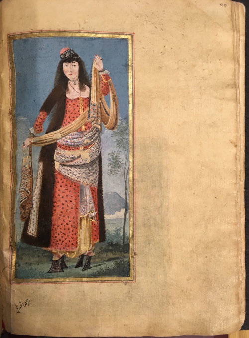 A woman of Istanbul wearing high pattens (nalın), Rumeli Hisar (?) in background (British Library Or.7094, f.28v)
