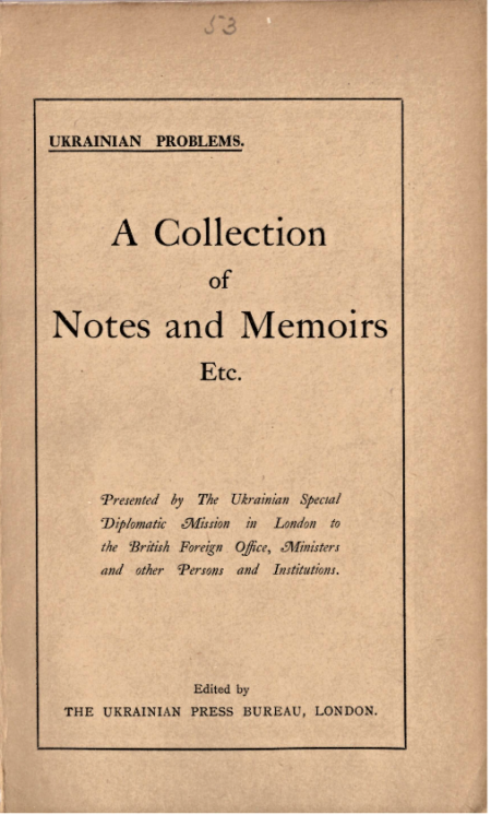 Cover of the pamphlet 'Ukrainian Problems'