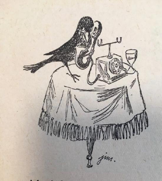 A blackbird speaking into an old-fashioned telephone