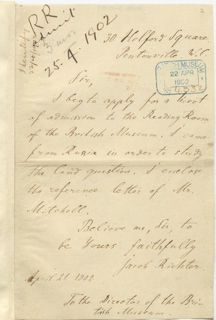 the letter above dated 21 april 1902 bears the signature jacob richter the pseudonym lenin had adopted to throw the tsarist police off his track
