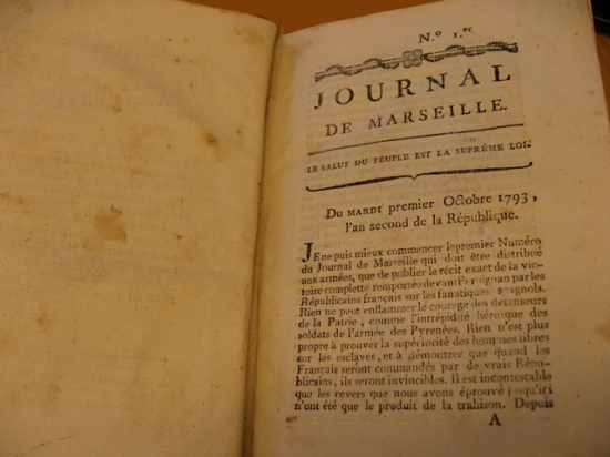 Opening of the first issue of the 'Journal de Marseille'