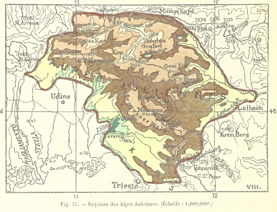 Map of the Julian Alps
