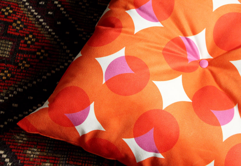 Faux Suede Pillow featuring Weavingmajor's halftone dots