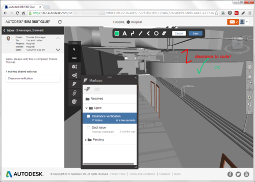 Markup in BIM 360 Glue via a browser