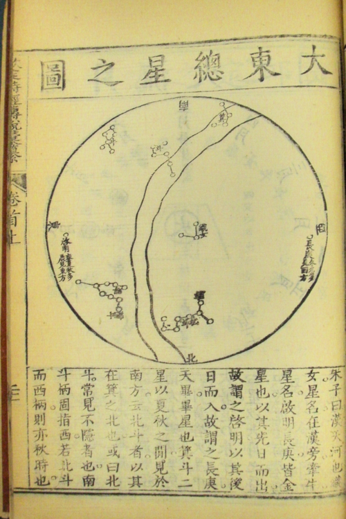 Map of the stars in the Eastern sky. Shi jing zhuan shuo (詩經傳說), detail from a Qing dynasty illustrated version of the Classic of Poetry, 1727. Woodblock printed. British Library, 15266.a.2, vol. 1.