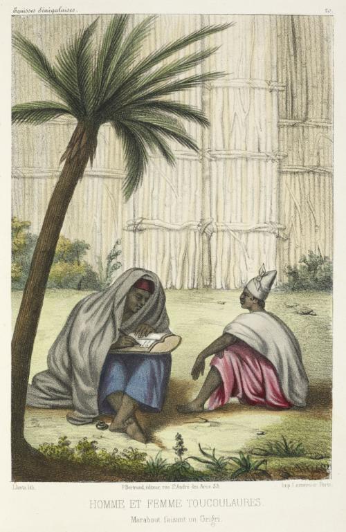 A marabout or Muslim religious leader writing an amulet for a widow. P.D. Boilat, Esquisses sénégalaises, etc. (Paris, 1853). British Library, 10096.h.9.