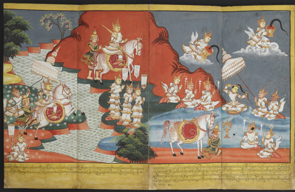 At the River Anomā: Prince Siddhartha reaches the River Anomā and cuts off his long topknot of hair and casts it into the air, where it is caught by Sakka, king of the gods, who enshrines it in Tavatimsa heaven. British Library, Or.4762, ff. 9-10.