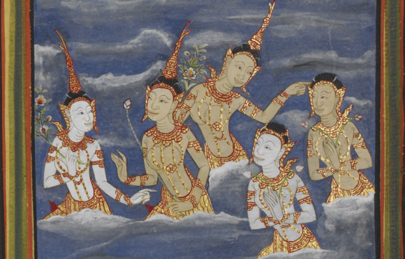 Illustration from a 19th century Thai manuscript depicting deities in the Buddhist heavens, British Library, Or. 14117, f. 58