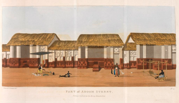 'Adum Street'. Illustration from Thomas Edward Bowdich, Mission from Cape Coast Castle to Ashantee (London: John Murray, 1819). British Library, G.7211