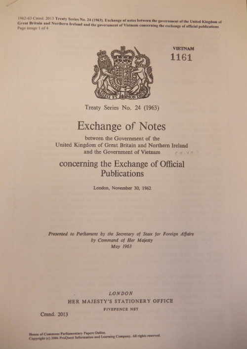 Exchange of Notes between the UK government and the government of the Republic of Vietnam, 1962.