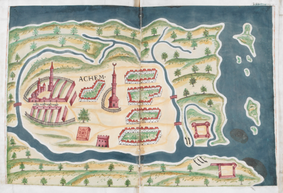 Map of Aceh in the 17th century. Achem, from 'Livro do Estado da India Oriental', an account of Portuguese settlements in the East Indies, by Pedro Barreto de Resende, 1646. British Library, Sloane MS 197, ff. 391v-392r.