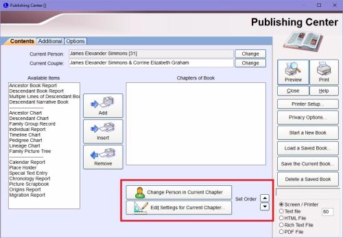 Publishing Center options